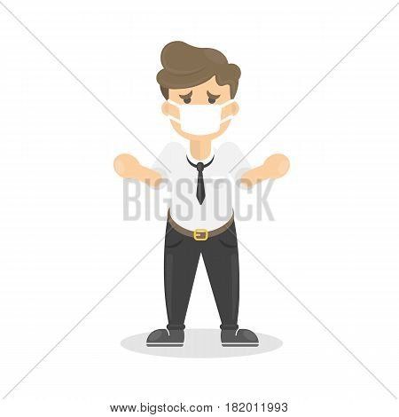 Buisnessman with cold. Sick man is ill. Isolated character on whte. Man in mask