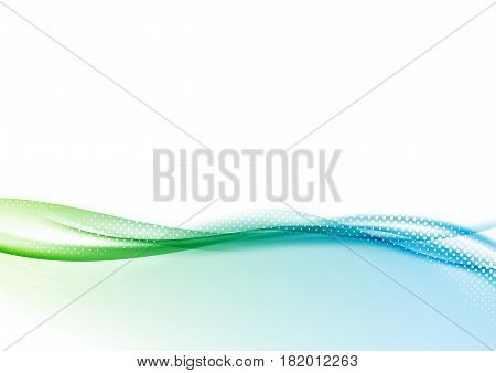 Abstract modern folder layout with wave background. Dotted with white particle green to blue gradient swoosh. Vector illustration