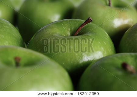 Extreme close-up image of apple with selective focus