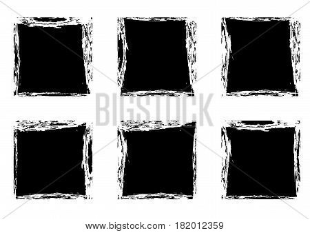 Modern black square stain frames collection templates. Distressed labels and badges set. Vector illustration