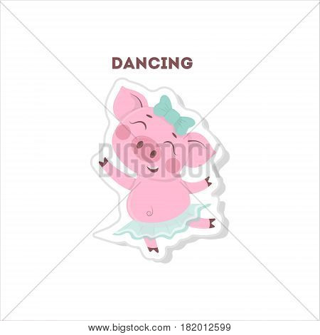 Funny pig listens to music. Isolated cartoon sticker.