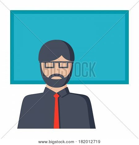 Pedagogy concept with male teacher in classroom, vector illustration in flat style