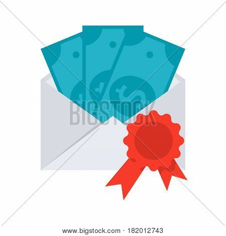 Scientific prize concept with money in envelope, grant icon, vector illustration in flat style