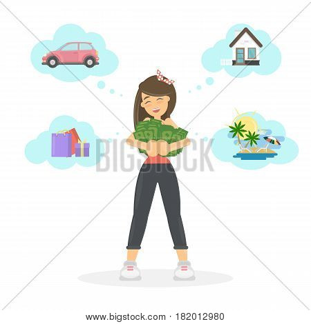Woman with dreams. Funny cartoon character with money dreams of car, house and relax.