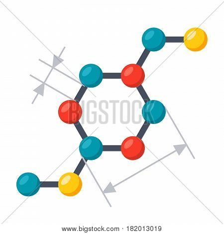 Scientific modeling concept with chemical structural formula, vector illustration in flat style