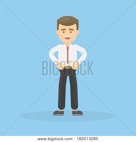 Isolated cartoon man on blue background. Dad or businessman.