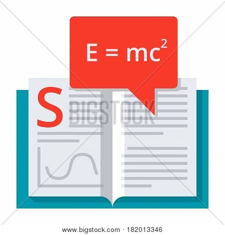 Scientific theory concept with book and formula, vector illustration in flat style