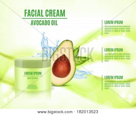 Cosmetic product poster. Cosmetic ads template. Skin care cosmetic cream based avocado oil. Vector illustration for cosmetic ads or magazine. EPS10