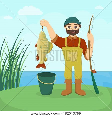 Fisherman with fish. Man with big fish and tackle.