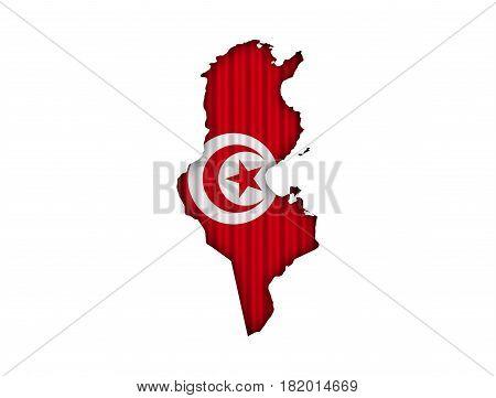 Map And Flag Of Tunisia On Corrugated Iron