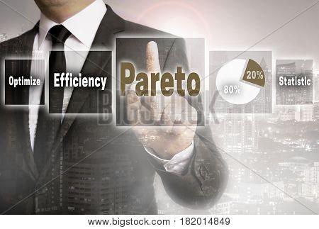 Pareto businessman with city background concept picture