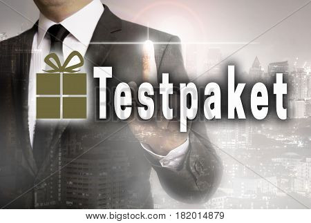 Testpaket (in German Test Package) Is Shown Of Businessman Concept