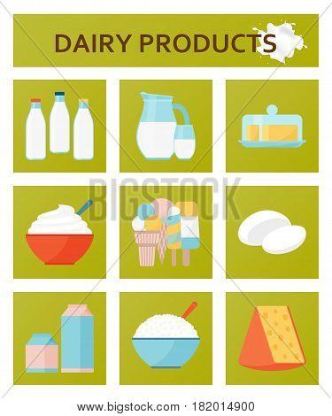 Dairy farm products flat set. Vector illustration.