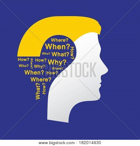 Concept of question. Question mark with man head symbol and question words. Flat design, vector illustration.