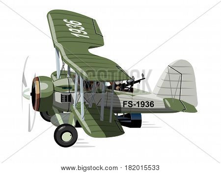 Vector cartoon retro torpedo bomber plane. Available EPS-10 vector format separated by groups for easy edit