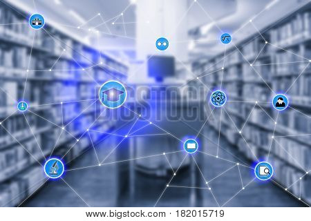 Smart education and education icon network conection withcomputer laptop in library room in background abstract image visual internet of things concept.