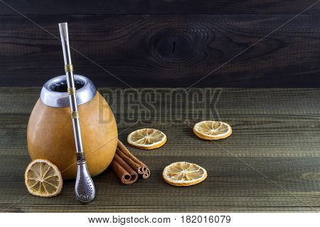 yerba mate in gourd matero. south american traditional drink
