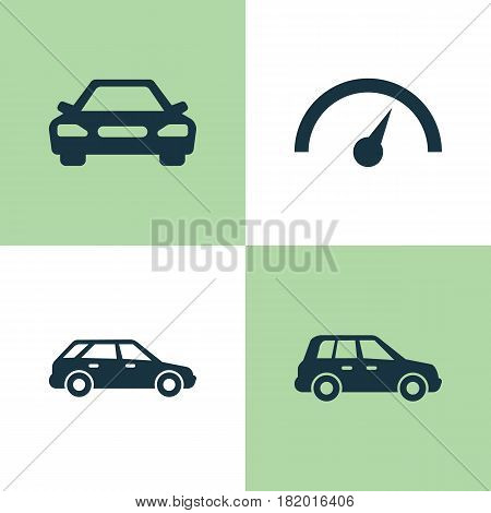 Automobile Icons Set. Collection Of Auto, Car, Hatchback And Other Elements. Also Includes Symbols Such As Crossover, Station, Wagon.