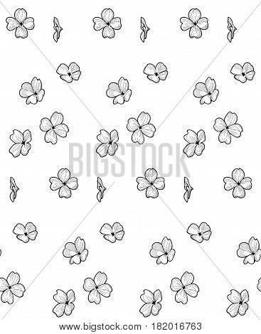 Vector Black Decorative Seamless Backdround Pattern with Drawn Flowers, Blossom, Plants. Doodle Style Greenery, Lush Foliage, Foliate. Vector Illustration. Pattern Swatch