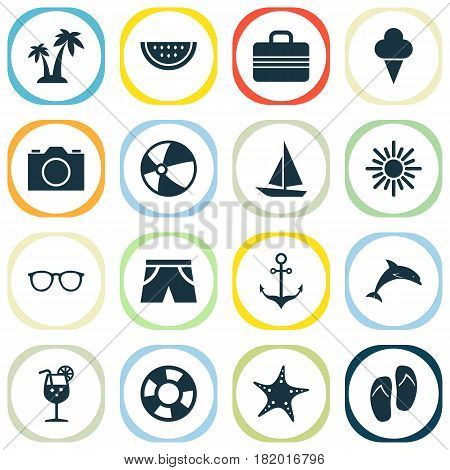 Hot Icons Set. Collection Of Sunny, Baggage, Bead And Other Elements. Also Includes Symbols Such As Circle, Sunshades, Flip.