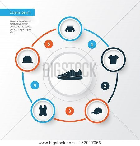Clothes Icons Set. Collection Of Sneakers, Trilby, Casual And Other Elements. Also Includes Symbols Such As Vest, Gumshoes, Casual.