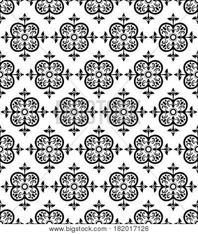 Black Decorative Seamless Background Patterns with Arabesque Ornaments. Vector Illustration. Pattern Swatch
