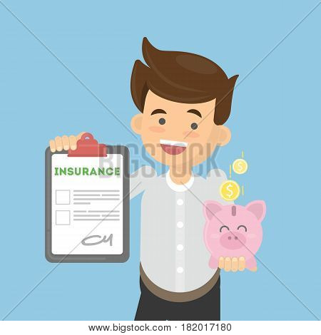 Man shows money insurance. Smiling beautiful man holds piggy bank in hands.