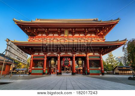 TOKYO JAPAN - NOV 13 2016: Sensoji Temple in Tokyo Japan on November 13 2016. Oldest temple in Tokyo and it is one of the most significant Buddhist temples located in Asakusa area.