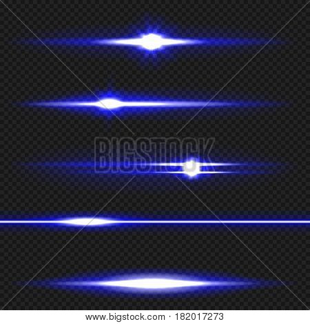 Blue horizontal lens flares pack. Laser beams, horizontal light rays. Vector, eps10