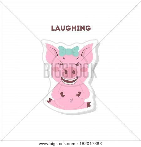 Laughing pig sticker. Isolated cute emoji on white background.