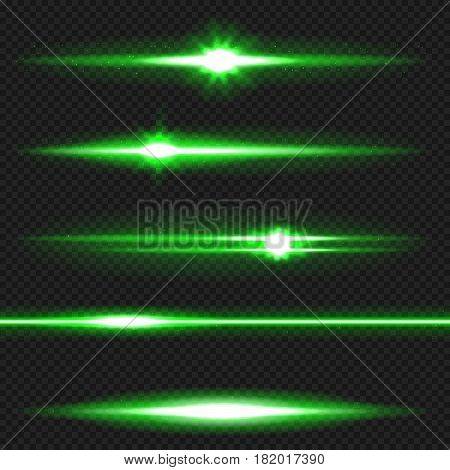 Green horizontal lens flares pack. Laser beams, horizontal light rays. Vector, eps10