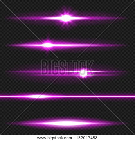 Purple horizontal lens flares pack. Laser beams, horizontal light rays. Vector, eps10