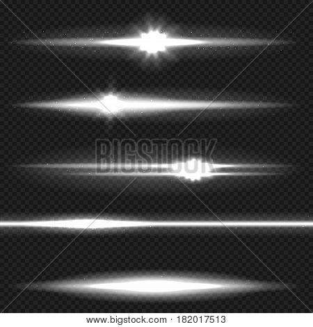 White horizontal lens flares pack. Laser beams, horizontal light rays. Vector, template, eps10