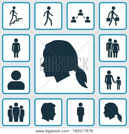 Person Icons Set. Collection Of Family, Gentlewoman Head, Beloveds And Other Elements. Also Includes Symbols Such As Walking, Gentleman, Person.