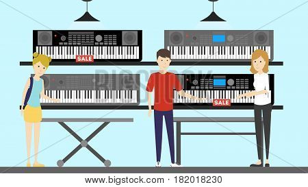 Musical instruments store interior. Keyboards and salesperson.