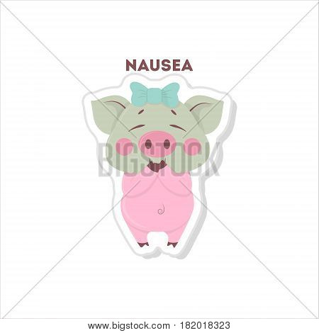 Isolated sick pig. Cute funny character on white background.