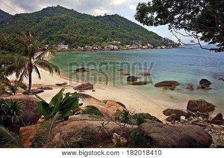 Sandy beach iIn the bay of Koh Samui Thailand