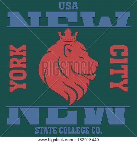 New york  typography fashion sport, t-shirt graphics king lion vector