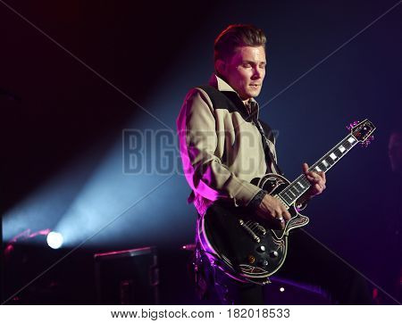 HUNTINGTON, NY-APR 15: Country music artist Frankie Ballard performs onstage at the Paramount on April 15, 2017 in Huntington, New York.