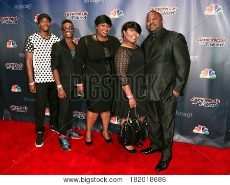 NEW YORK-AUG 19: Members of the choir Selected of God attend the 'America's Got Talent' Season 10 Results Show at Radio City Music Hall on August 19, 2015 in New York City.