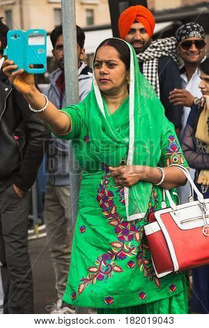 Sikh Woman Taking Part In The Vaisakhi Parade