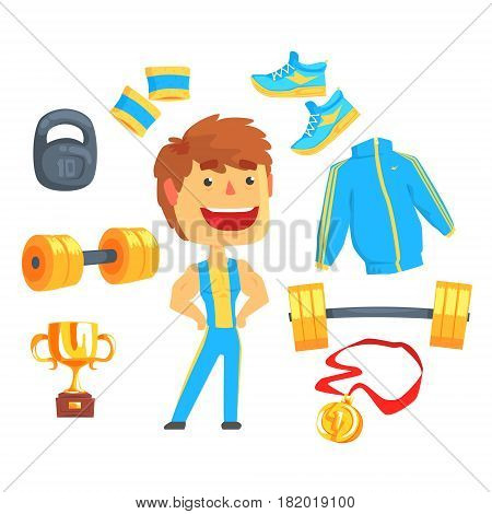 Bodybuilder set for label design. Sports equipment for bodybuilding, weightlifting. Colorful cartoon detailed Illustrations isolated on white background