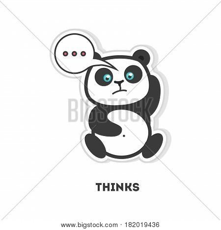 Thinking panda sticker. Isolated cartoon sticker. Funny panda with thoughts bubbles.