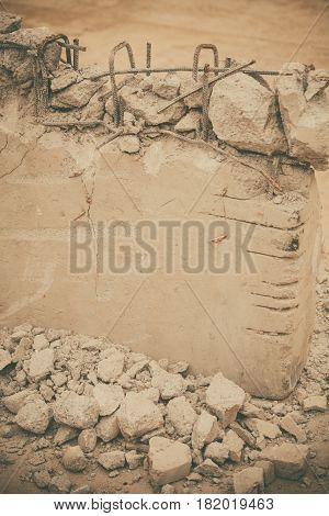 Close up shot of a demolished concrete wall.