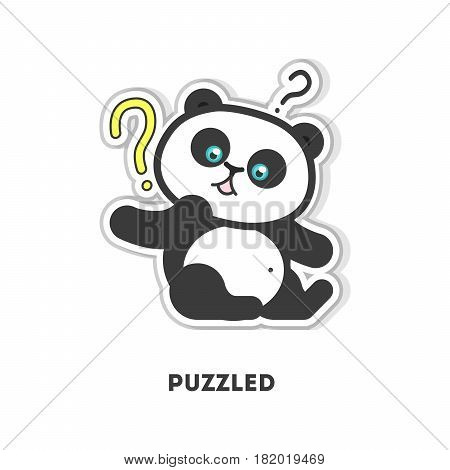 Puzzled panda sticker. Isolated cartoon sticker. Funny panda with question marks.