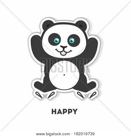 Happy panda sticker. Isolated cute sticker on white background.
