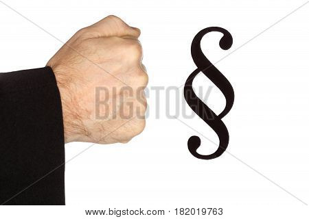 lawyer fist with paragraph symbol on white background