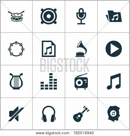 Music Icons Set. Collection Of Dossier, Silence, Meloman And Other Elements. Also Includes Symbols Such As Note, Gramophone, Percussion.