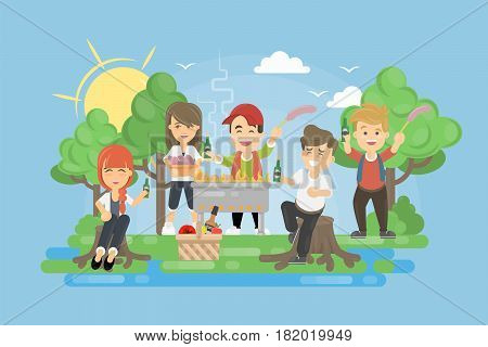 Picnic with BBQ. People having fun and cooking meat and vegetables.