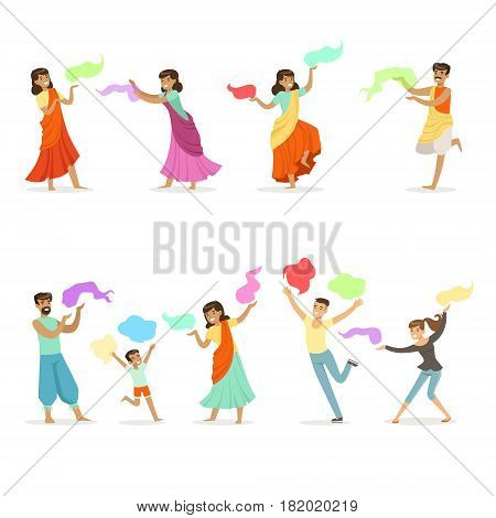 Smiling people dancing in national Indian costumes set for label design. Indian dance, Asian culture, cartoon detailed colorful Illustrations isolated on white background